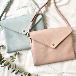 NWT Vegan Leather Envelope Crossbody Bag PINK